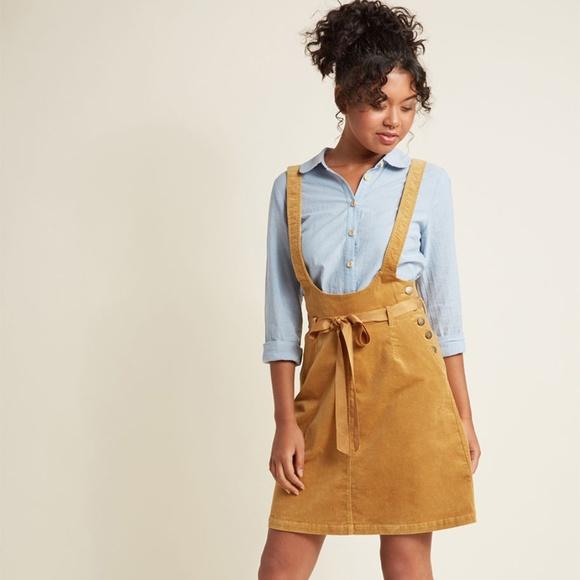 5e009410ac ModCloth Gold Corduroy Pocket Jumper Skirt